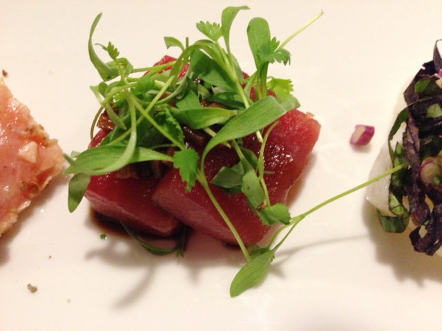 Bluefin tuna with soy braised garlic and micro cilantro