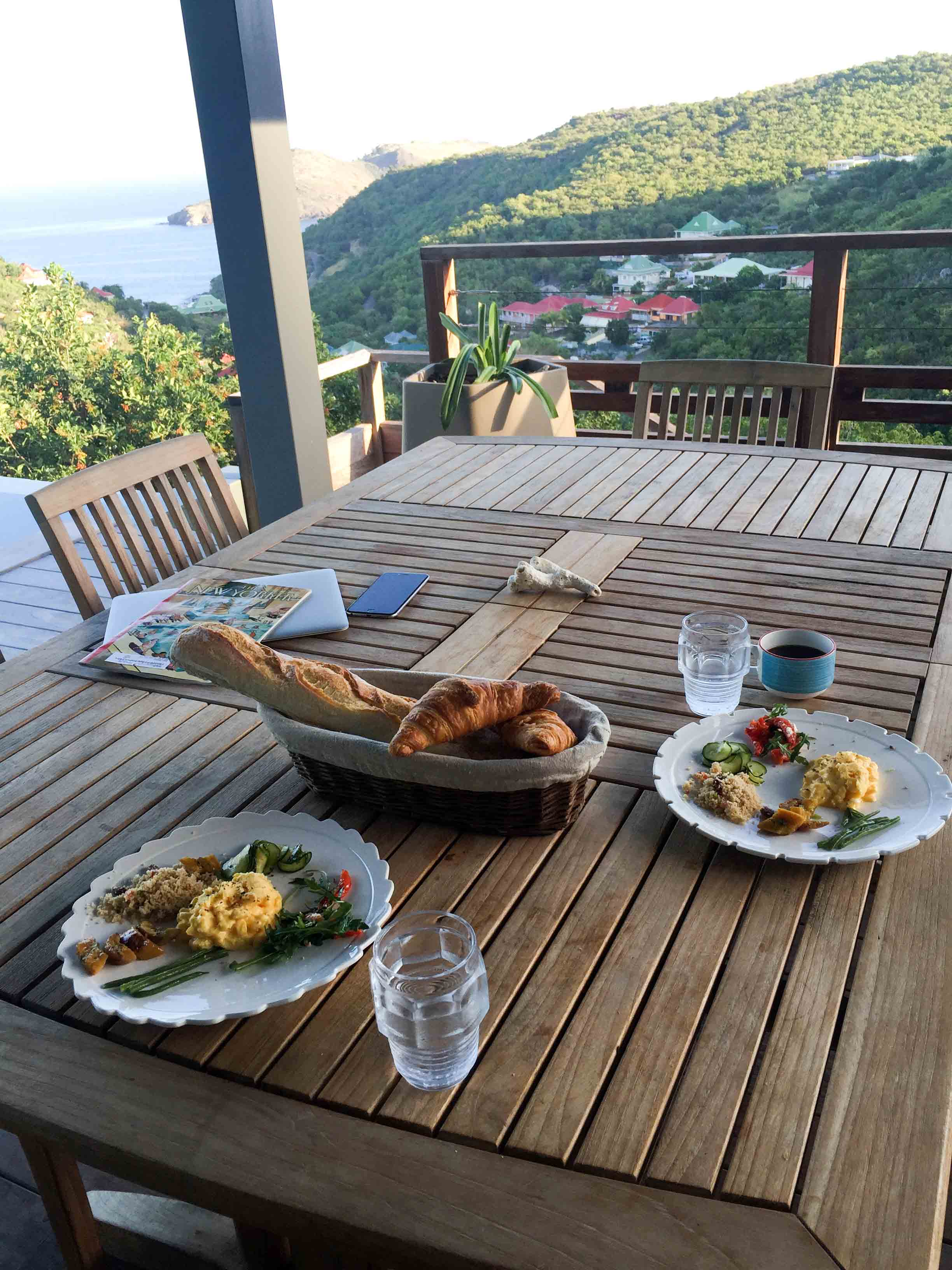 Breakfast on St. Barts - Eggs and Maya's To Go leftovers