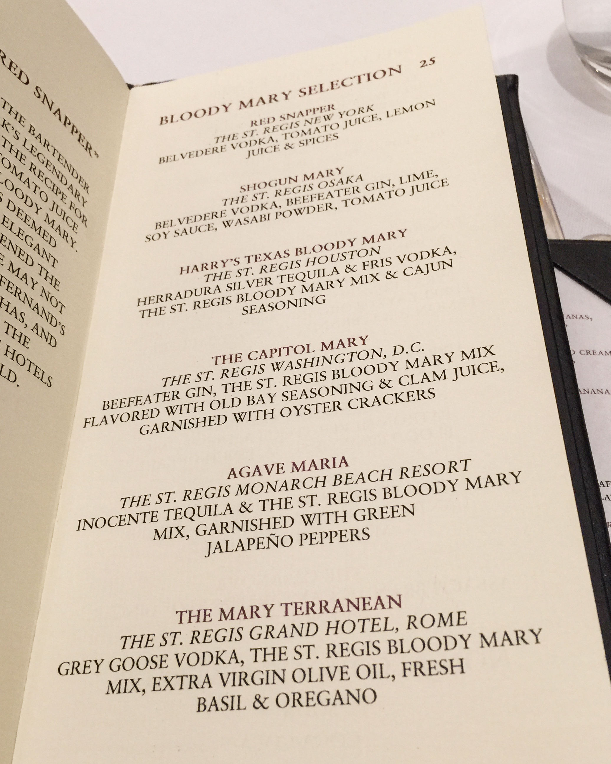 Bloody Mary Menu at the St. Regis