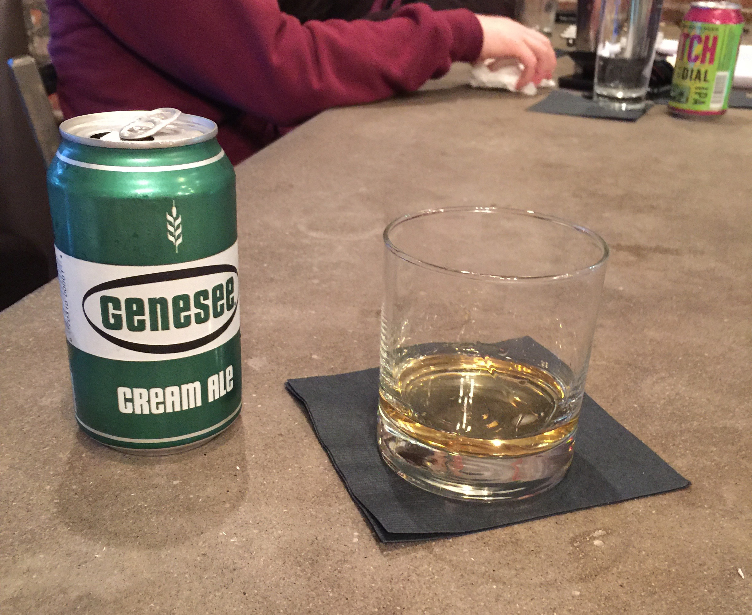 Genny Cream Ale and whiskey neat
