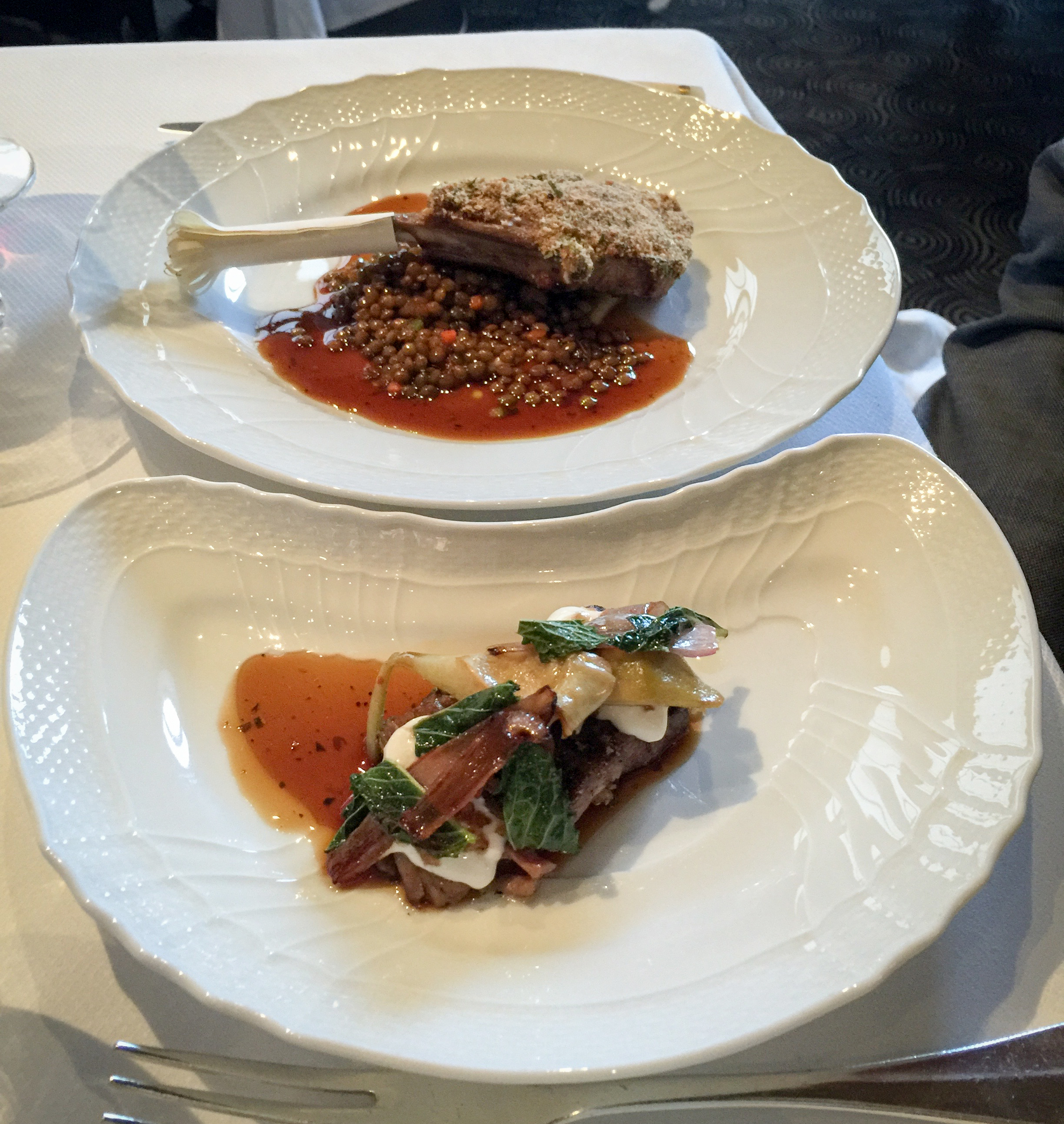Lamb chop with a side of braised lamb neck