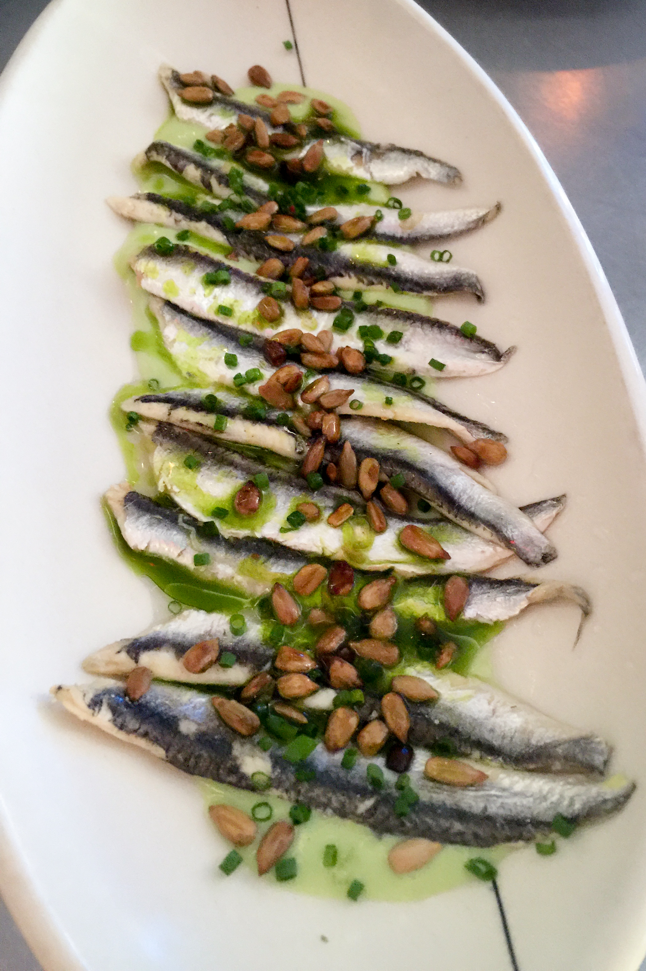 White anchovies with whipped fava beans