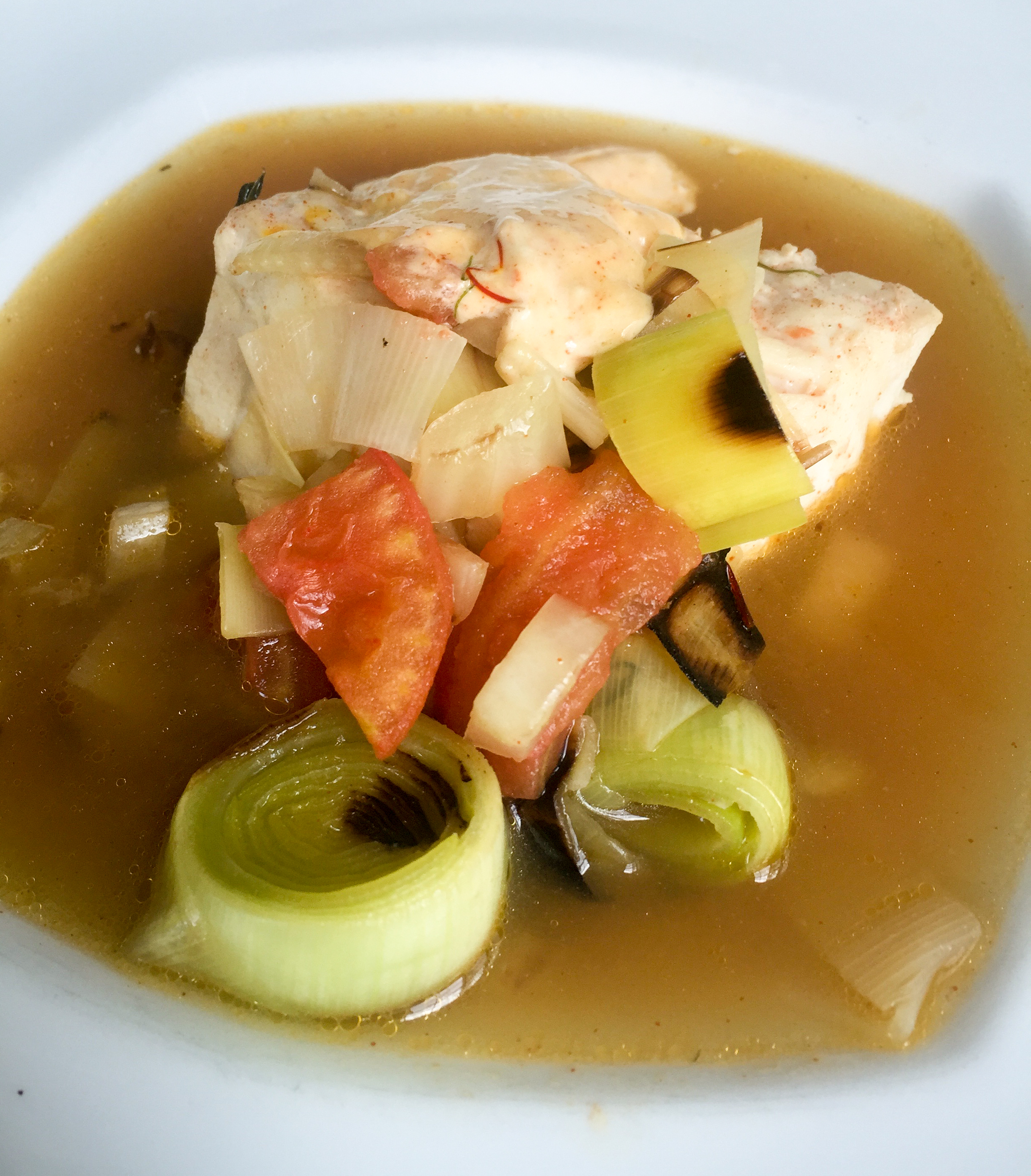 Striped bass soup with leeks and fennel and a smoky aioli