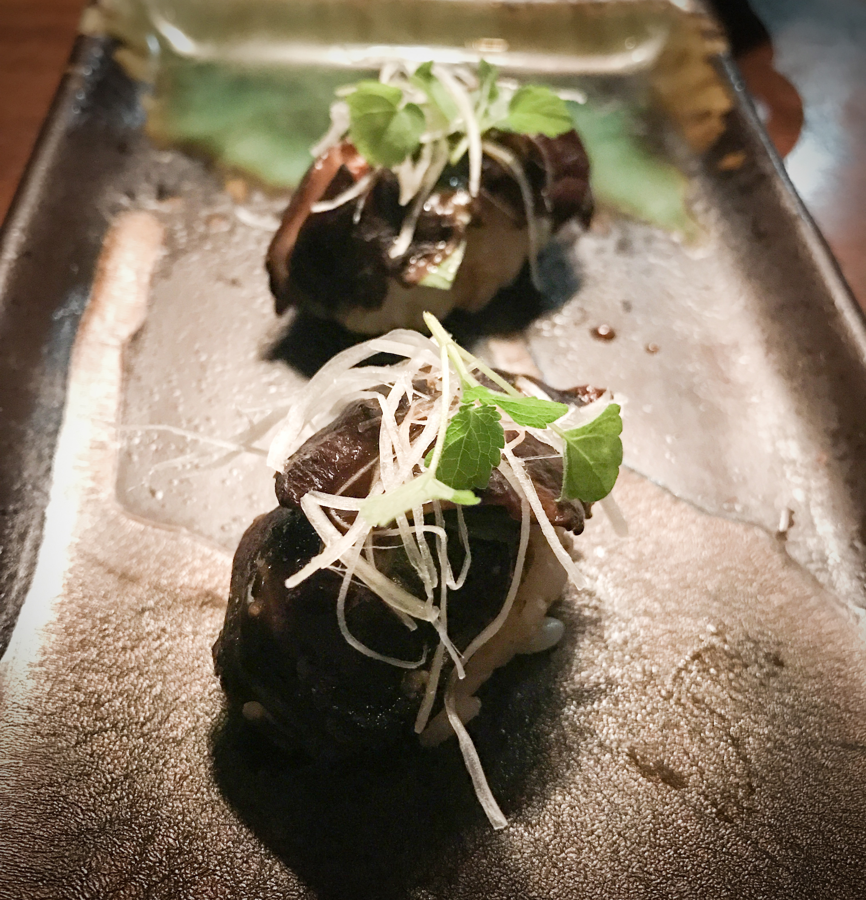 The vegetarian nigiri are some of my favorite dishes on the menu and the warm braised hana shiitake mushrooms with anise hyssop and truffled honey was no exception.