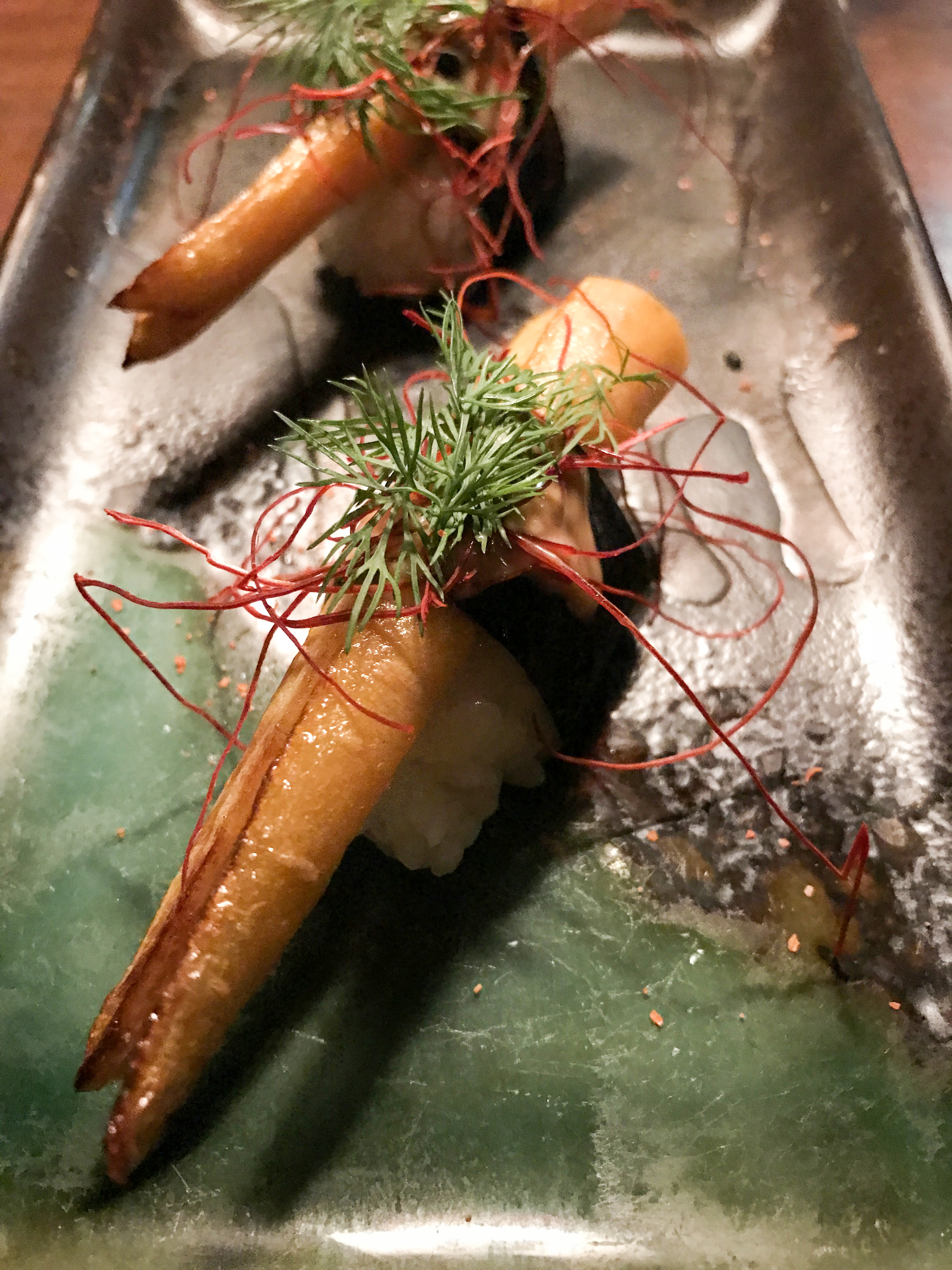 If you are a farmers' market fan in Boston chances are you know and love Farmer Dan from Kimbell Farm. Here we have Kimbell Farm carrots with Japanese chili peppers, togarashi aioli and fresh dill. Farmer Dan would approve!
