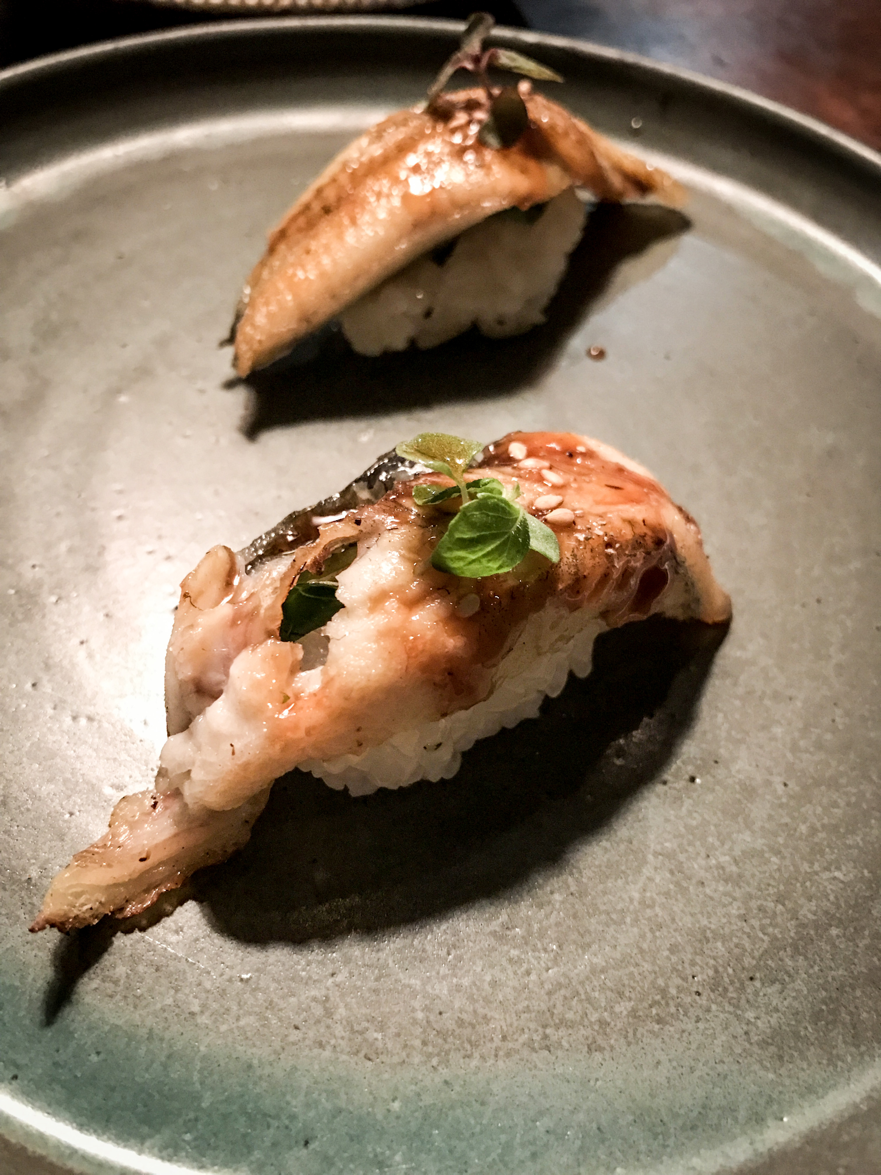 Back to delicious fish with warm grilled eel topped with thai basil and sansho (a Japanese pepper)