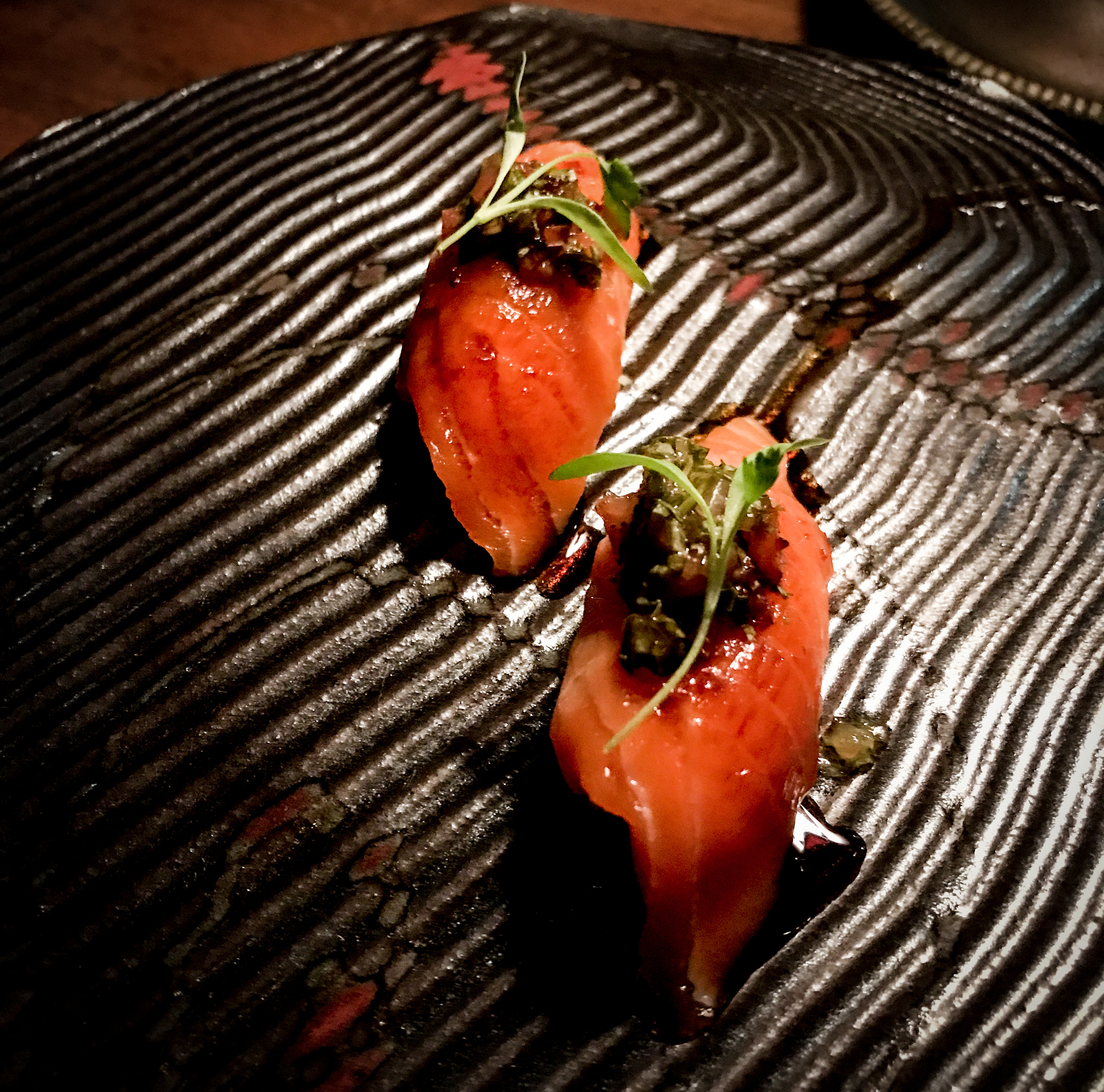 The vibrant color and butteriness of this ora king salmon was positively stunning. Garnished with a Vietnamese coriander salsa and dashi caramel - oh my!
