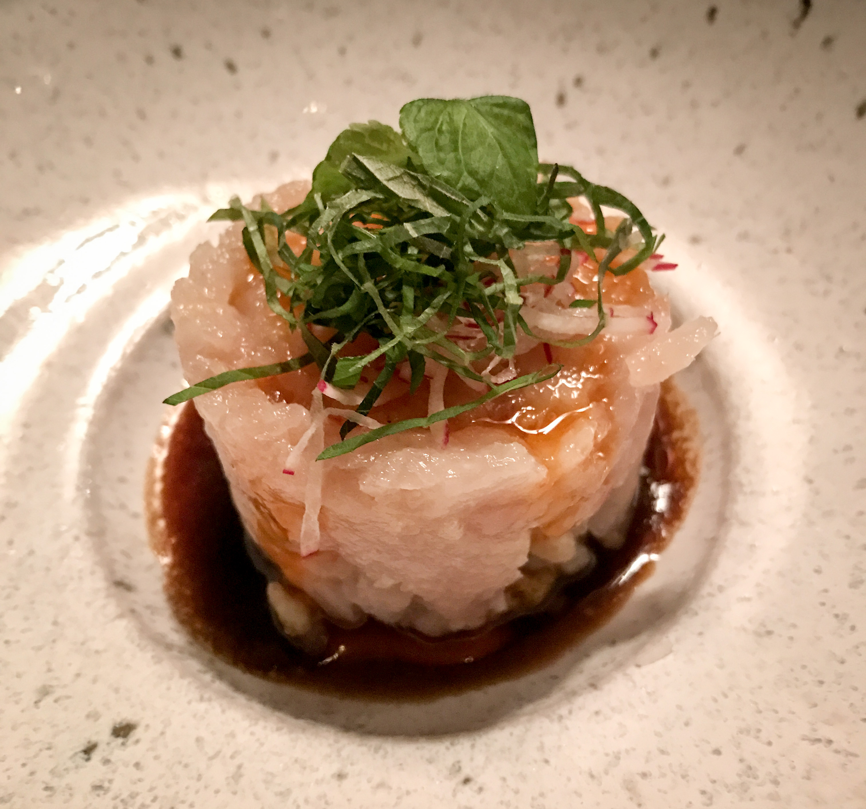 The hamachi tartare was beloved by all with its ginger verjus sauce and spiced chili oil