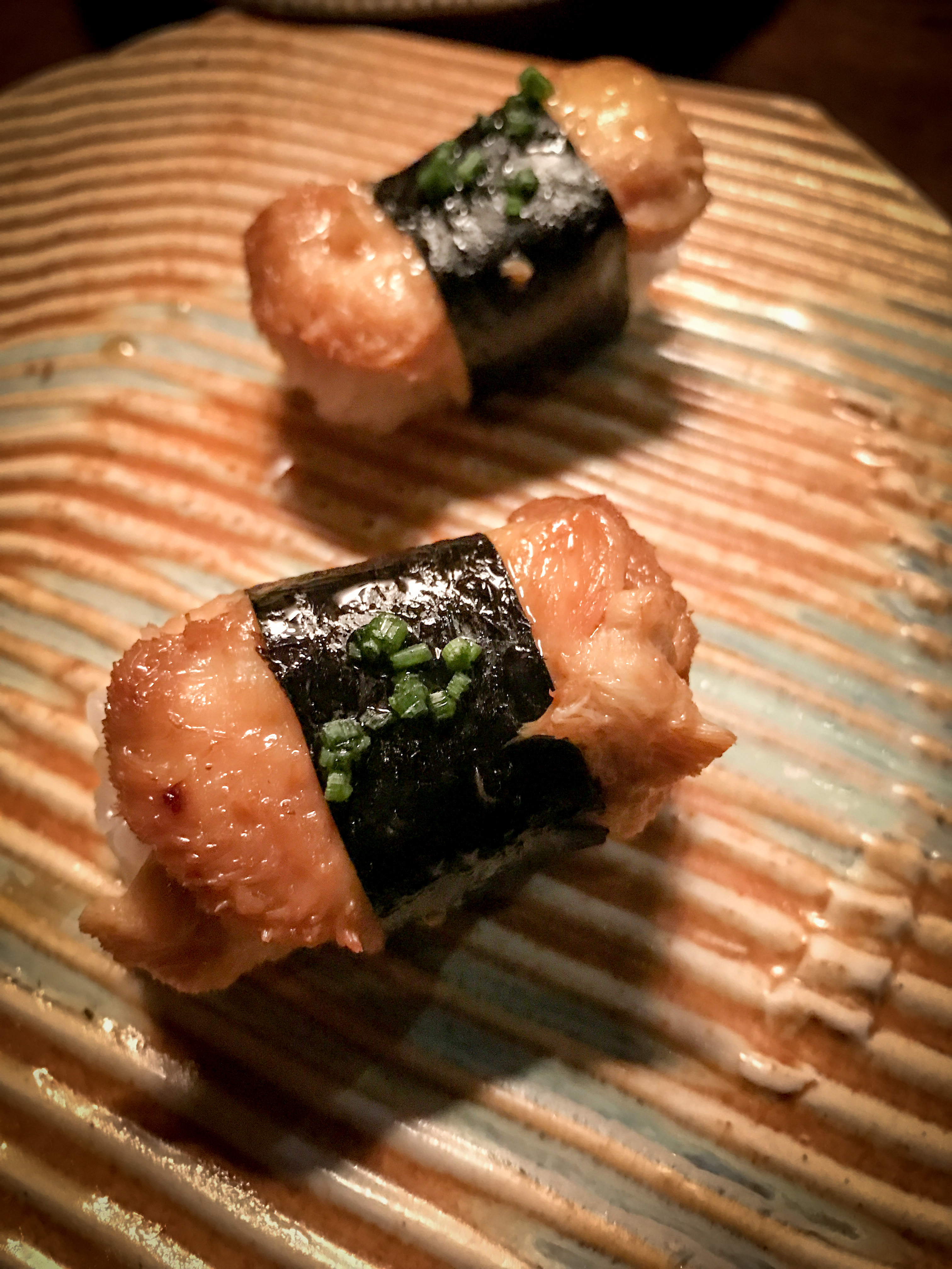 At the risk of repeating myself - if there is a mushroom nigiri on the menu JUST DO IT! I think these local lion's mane mushrooms with garlic and soy are pictured next to the word umami in the dictionary.